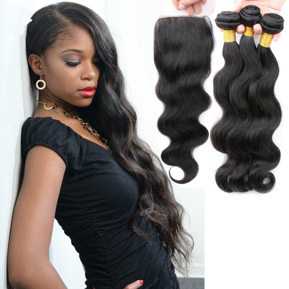 Amazon Cocos Hair Body Wave Silk Base Closure With 3 Bundles