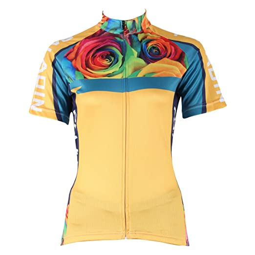 ILPALADINO Women s Cycling Jersey Short Sleeve Biking Shirts Flowers Rose  Yellow ... b5ce698f3