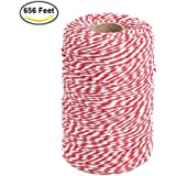 656 Feet Red and White Twine,Cotton Baker's Twine Cotton Cord Crafts Gift Twine String for Christmas Holiday