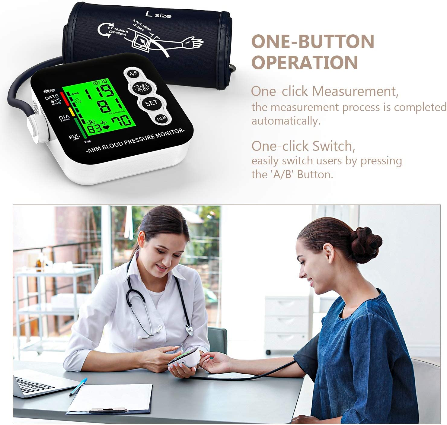 2 x 99 Memories Large Three-Color Backlight Display Blood Pressure Monitor OUDEKAY Digital Automatic Upper Arm Blood Pressure Monitor and Heart Rate Pulse with Wide-Range Cuff for Home Use