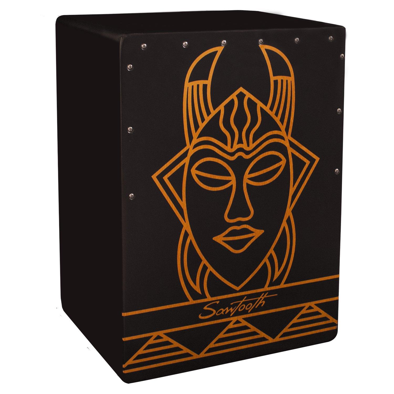 Sawtooth Harmony Series Hand Stained Spirit Design Satin Black Large Cajon