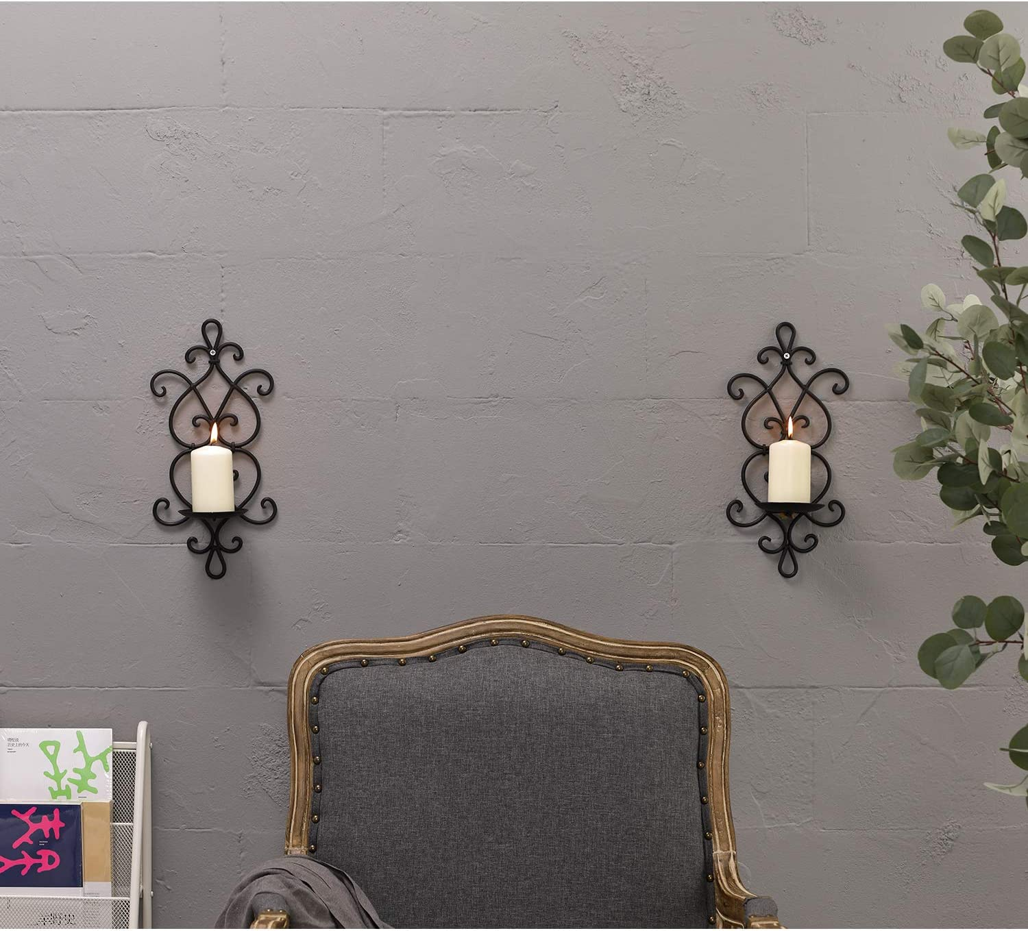 Ticco Wall Candle Sconce Set of 2 Wrought Iron Candle Holder Hanging Wall Mounted Candle Sconces for Living Room Home Decor Black