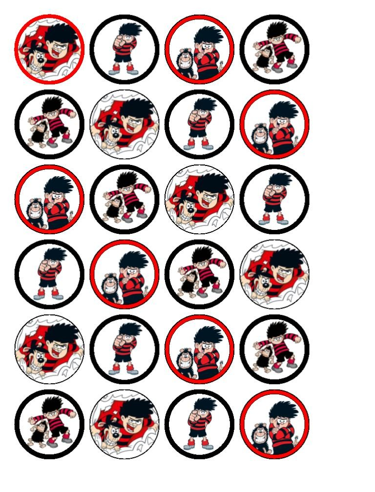 24 x Beano - Dennis The Menace Cupcake Toppers