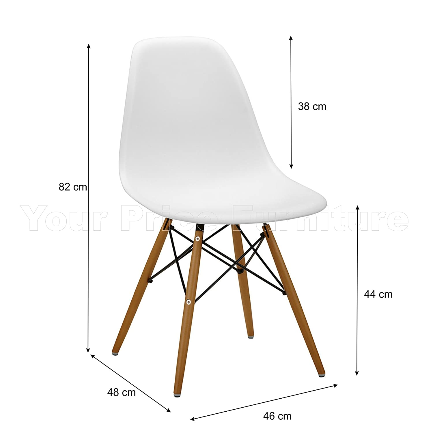 6 White Eames Inspired ABS Dining Chairs   DSW Eiffel Side Dining Chairs...:  Amazon.co.uk: Kitchen U0026 Home