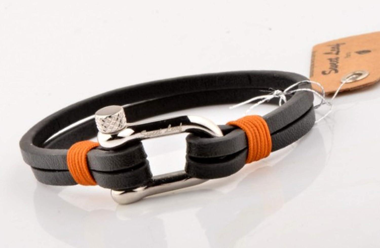 Id/éal pour un bijoux cadeau Bracelet en Cuir Noir pour Homme Cuir Naturel et V/éritable de Qualit/é Fait Main El/égant et Moderne - Fermoir en Acier Inoxidable Poli Argent Classique