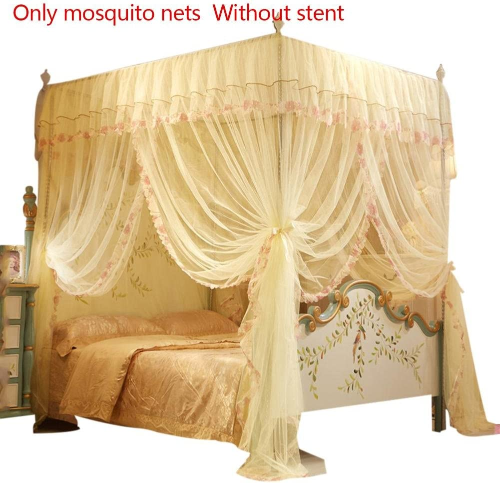heresell mosquito net for bed 4 Posters Corners Bed Canopy Princess Queen Mosquito Bedding Net Bed Tent Floor-Length Curtain 2MX1.5MX2M