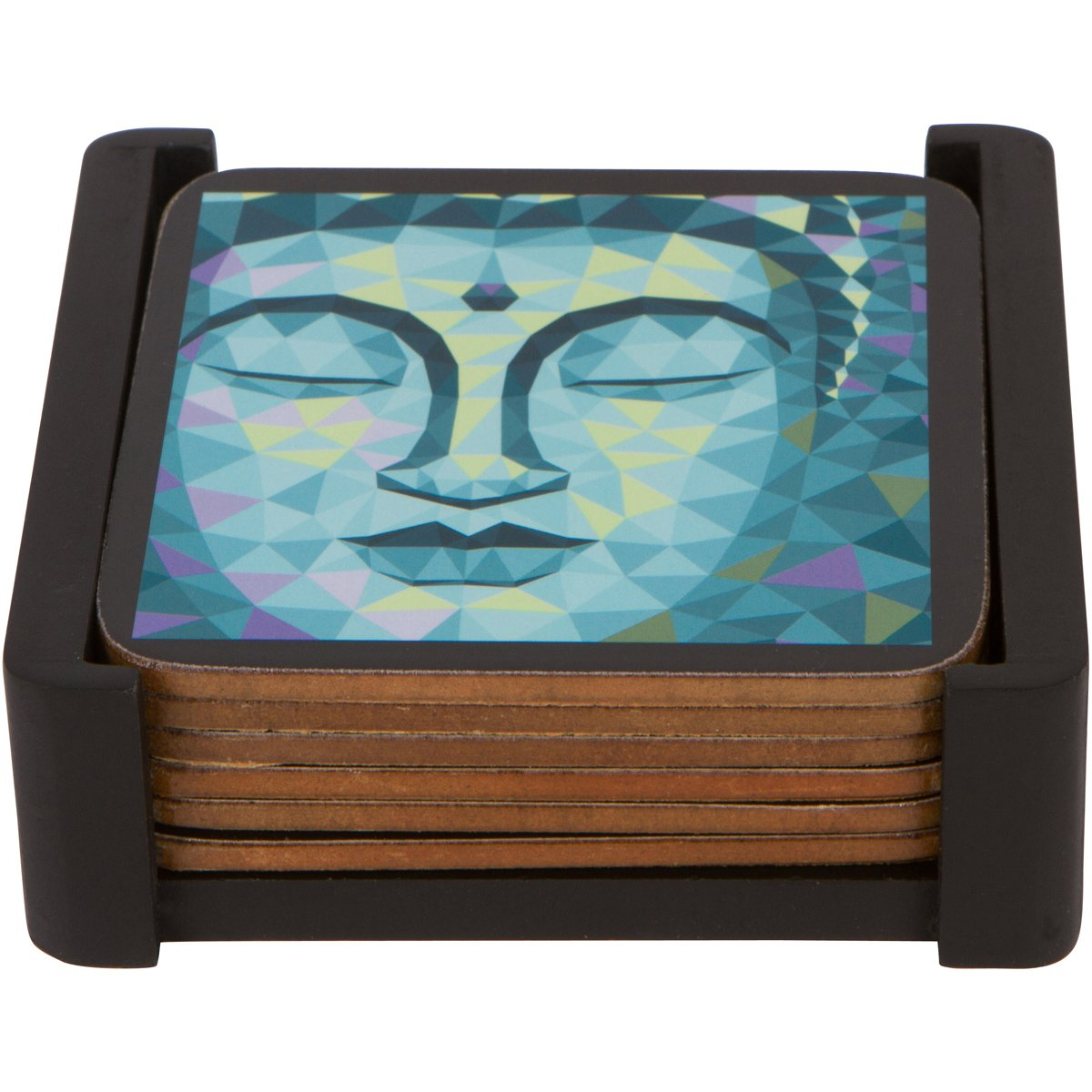 Planet Ethnic Colorful Buddha Designer Wooden MDF Cork Coaster Set (6 coasters, each almost 4 X 4 inches) with matching wooden coaster holder