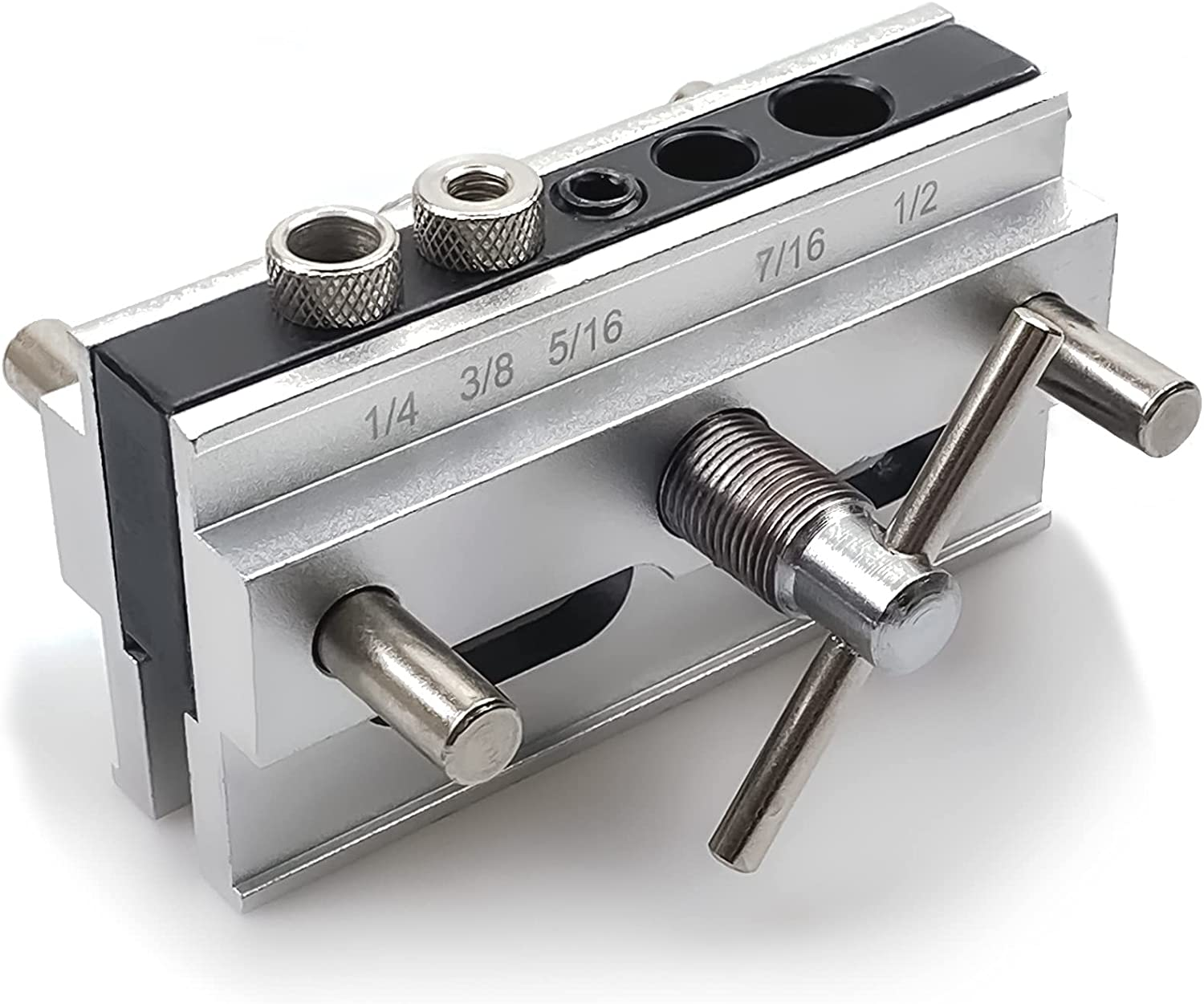 Self Centering Doweling Jig with 6 Bushings, Step Drill Guide Bushings Set for Professional or Hobbyist Woodworker Furniture Business, Wood Dowel Jig Kit Woodworking Drilling Hole locator Tools