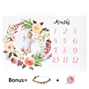 Milestone Blanket, Baby Blankets for Girls Newborn Photography Props Baby Girl Gifts (Headband and Frame Included) Reuseable Premium Fleece Baby Monthly Milestone Blanket Shower Gifts
