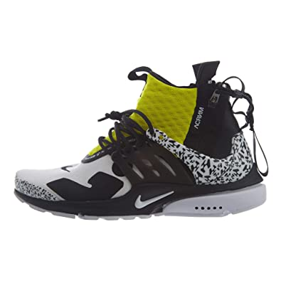 new style 4e8e9 4f801 Nike Mens Air Presto MidAcronym WhiteBlack-Dynamic Yellow Synthetic Size 4