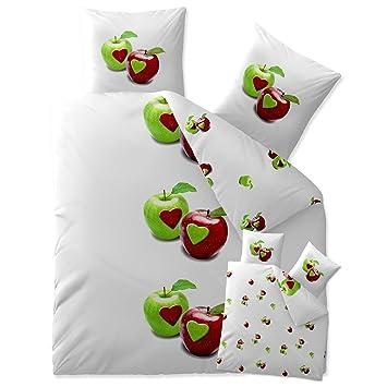 Bettwasche 200x220 Baumwolle Trend Tamea Weiss Grun Apfel Herz
