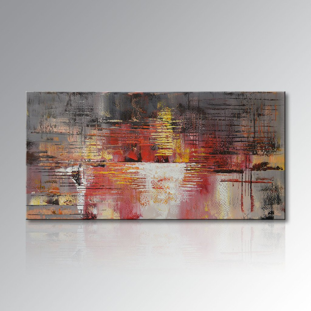 Seekland Art Hand Painted Oil Painting Large Abstract Art Canvas Stretched and Ready to Hang Wall Decor Art for Living Room (60''W x 30''H )