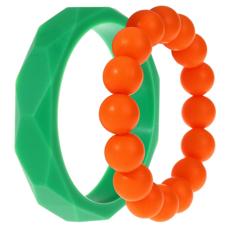 MyBoo Autism/Sensory/Teething Chewable Geometric and Beads Bracelet Bundle - Set of 2, Green/Orange by MyBoo   B012U9CZCY