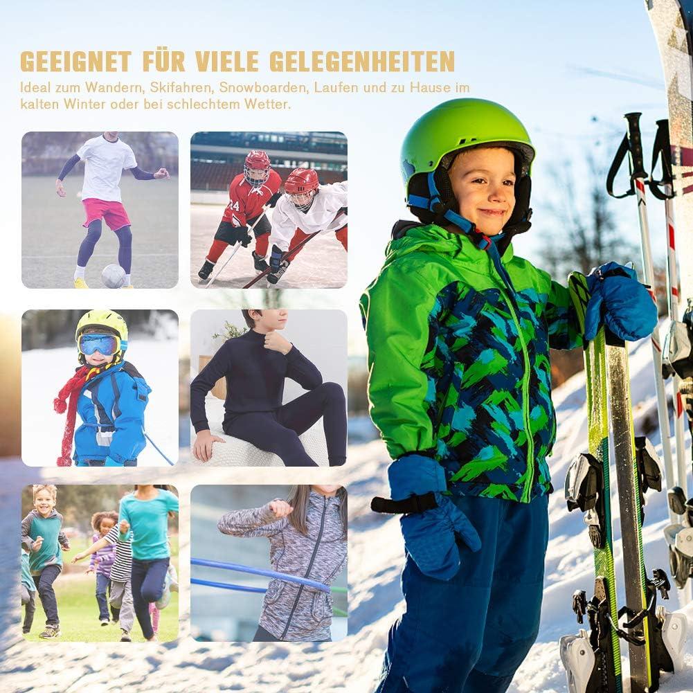 Fengzio Set Biancheria Intima per Bambini Traspirante Asciugatura Rapida Maniche Lunghe Bambini e Ragazzi da Escursionismo Sportiva Sets per Calcio Ciclismo e Lo Allenamento Sci Corsa