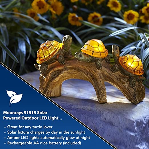 Perfect Moonrays 91515 Solar Powered Outdoor LED Light Garden Décor, Turtles On A  Log   Outdoor Figurine Lights   Amazon.com