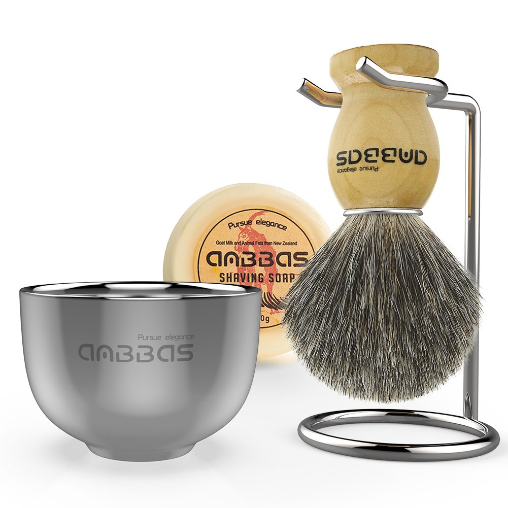 Shaving Brush Set, 4in1 Anbbas Fine Badger Shave Brush Wood Handle,Stainless Steel Shaving Stand and Soap Cup Dia 3.2 with Shaving Soap Bar Natural & Organic 3.5oz for Men