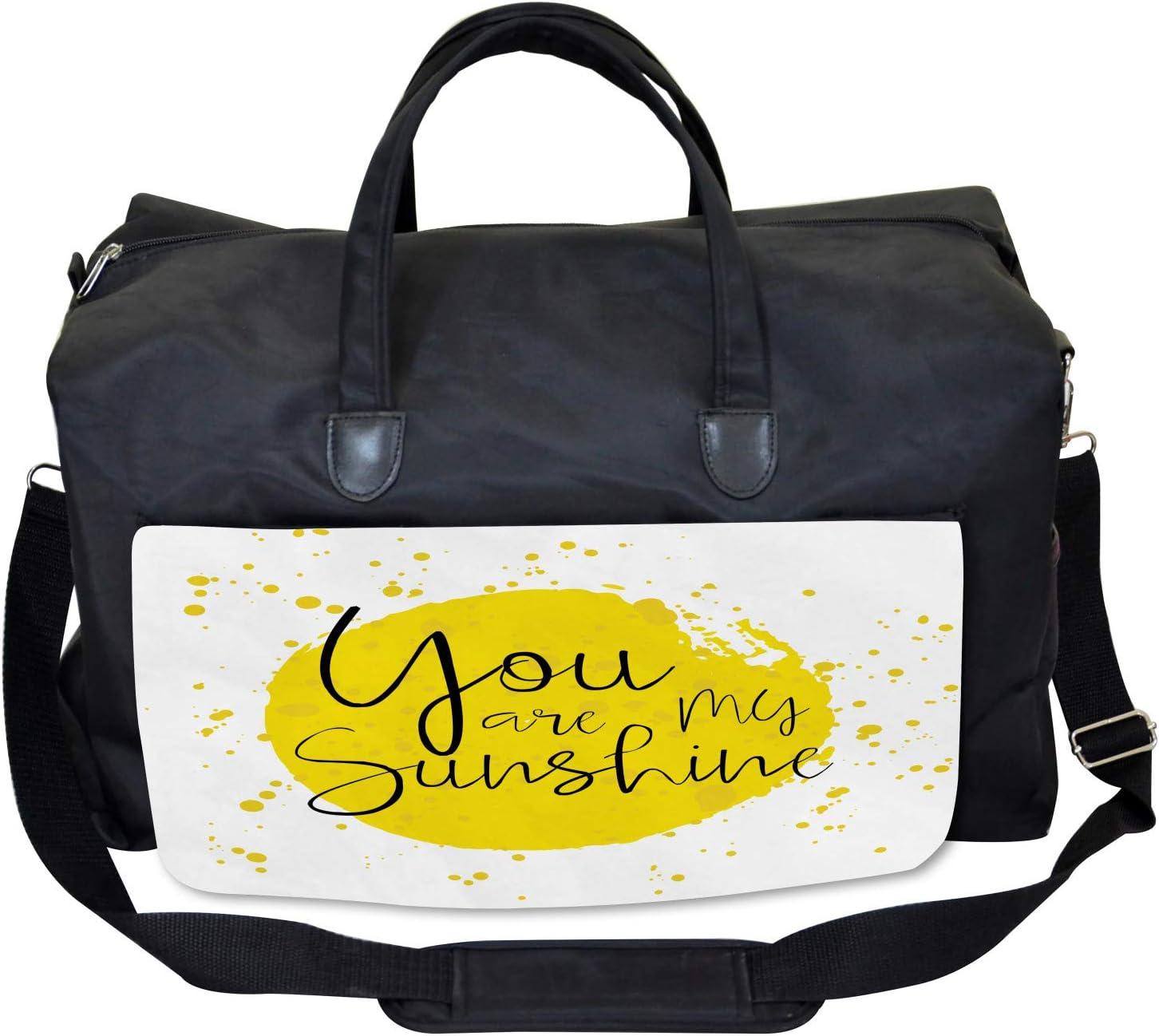 Ambesonne Yellow Gym Bag Large Weekender Carry-on Splash Inspirational