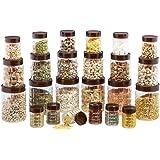 Steelo Plastic PET Container Set, 24-Pieces, Maroon