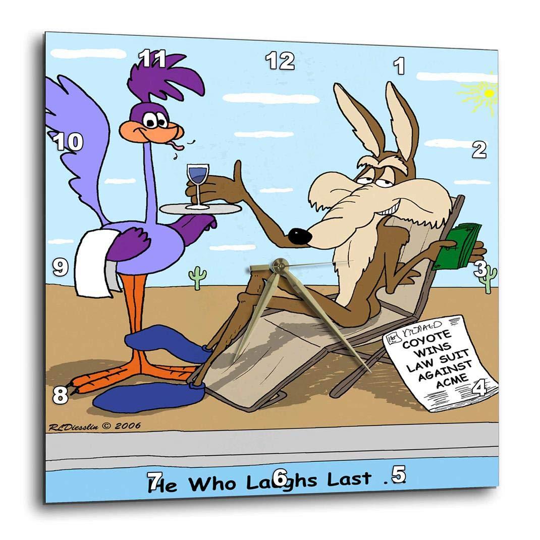 3dRose DPP_2803_1 Coyote Sues Acme Wall Clock, 10 by 10'