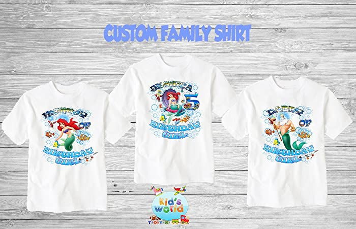 Amazon The Little Mermaid Shirt Birthday Party Ariel Family D20