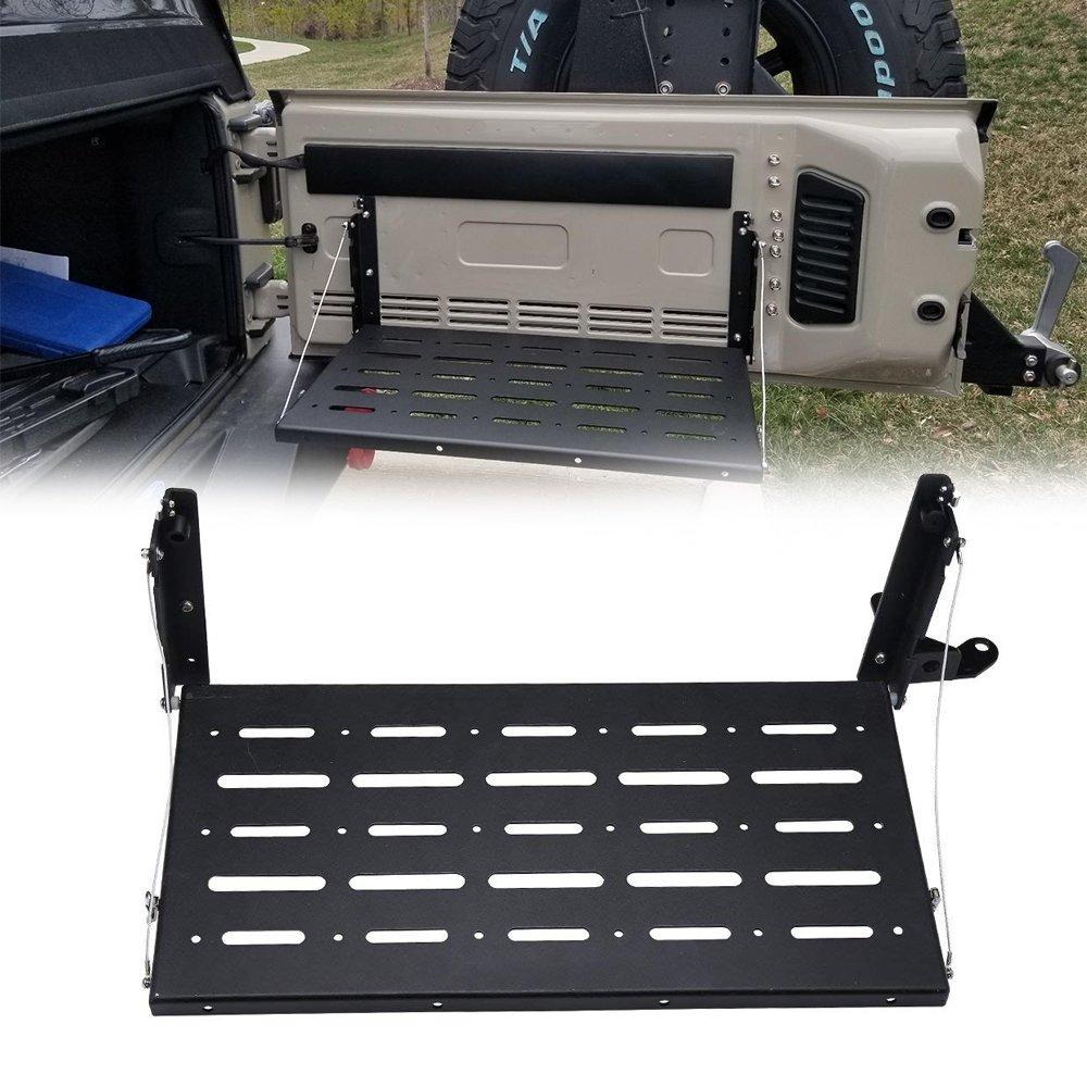 Jeep Rear Door Tailgate Table Storage Cargo Shelf Rack Aluminum Alloy Matte Black Rear Foldable Back Shelf for 2007 2008 2009 2010 2011 2012 2013 2014 2015 2016 2017 2018 Jeep Wrangler JK JKU