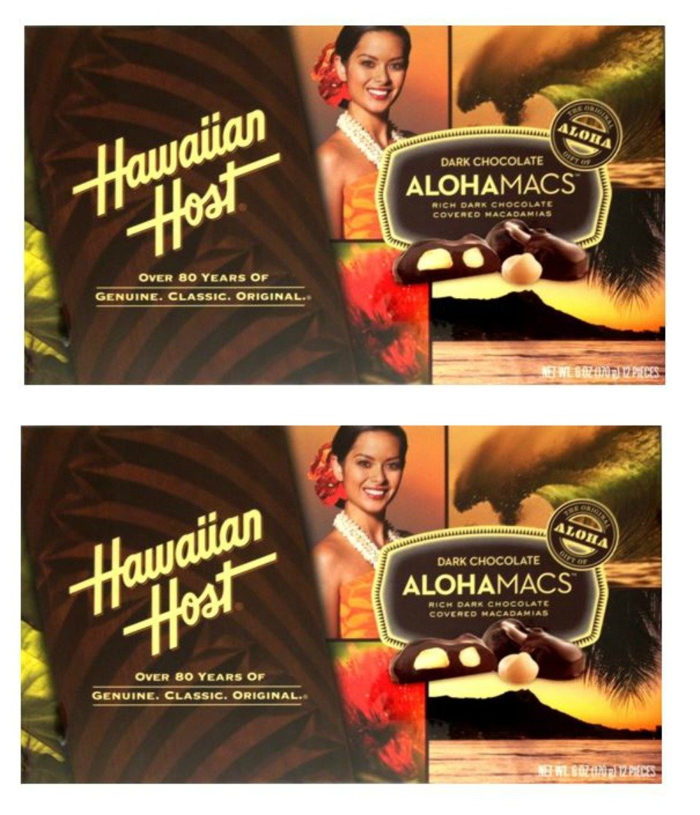 Hawaiian Host Alohamacs Dark Chocolate Covered Macadamia Nuts (6 oz Boxes) (2 Boxes) by Hawaiian Host