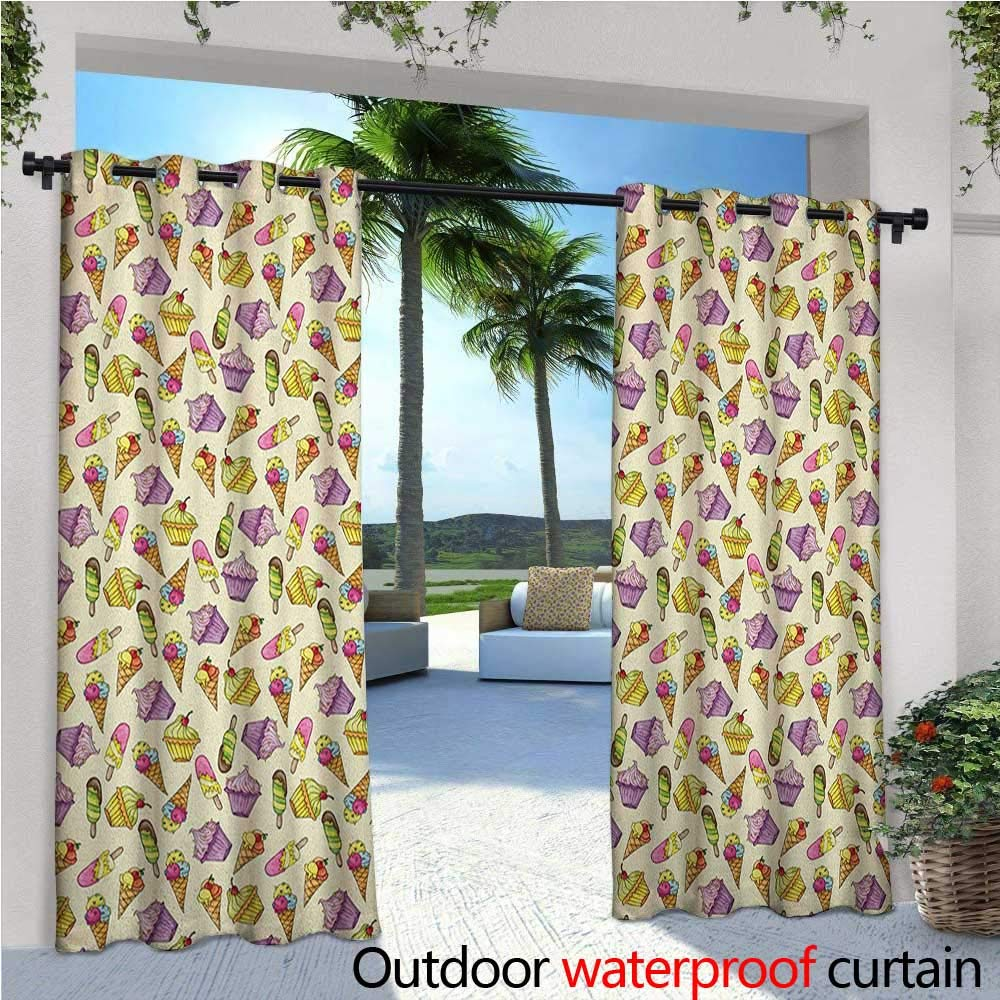 familytaste Ice Cream Indoor/Outdoor Single Panel Print Window Curtain Yummy Cupcakes Chocolate Party with Cherry Cones Fruit Sweet Kids Nursery Theme Silver Grommet Top Drape W108 x L96 Multicolor by familytaste