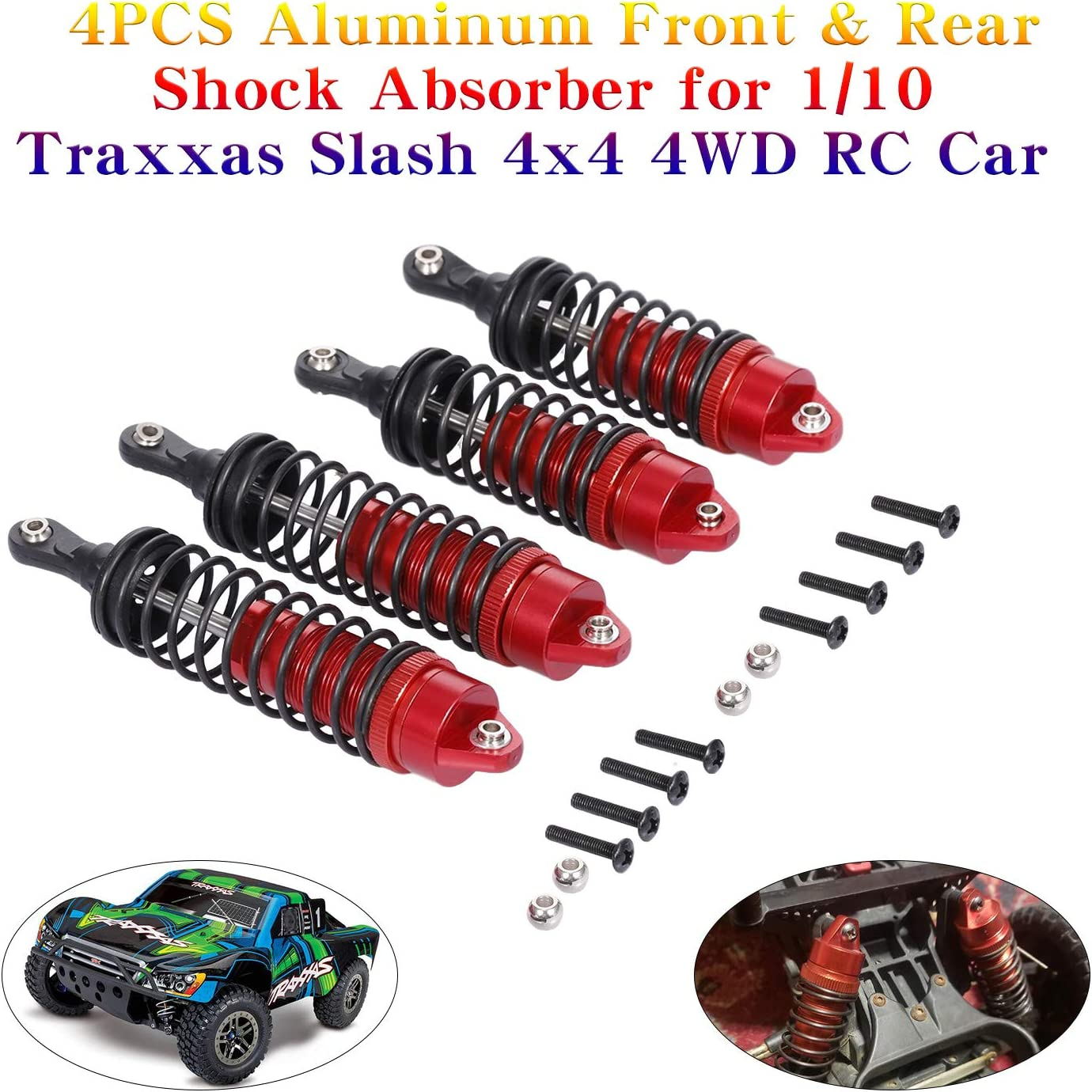 Globact 4PCS Aluminum Front /& Rear RC Shocks for 1//10 Traxxas Slash Shocks Traxxas Slash 4x4 Traxxas Slash 2WD RC Car Replace 5862