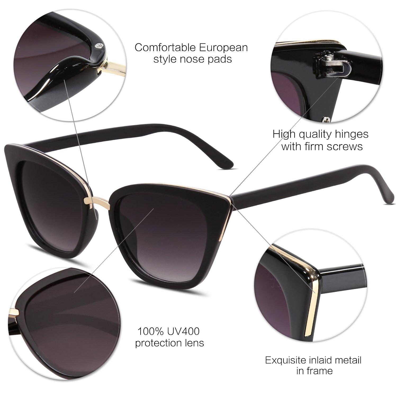 c93f48e0947 Amazon.com  SOJOS Cat Eye Brand Designer Sunglasses Fashion UV400  Protection Glasses SJ2052 with Black Frame Gradient Grey Lens  Clothing