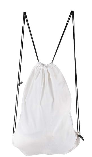 Amazon Com Canvas Drawstring Backpack 6 Pack Plain