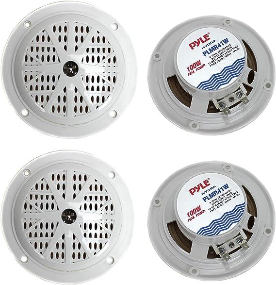 100 Watt Waterproof Rated Marine Speakers with LED Lights White Pyle 4 in
