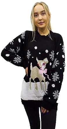 3c90c4a34127 METLUQ M0D4 Womens Ladies Christmas Bambi Baby Deer Print Knitted ...