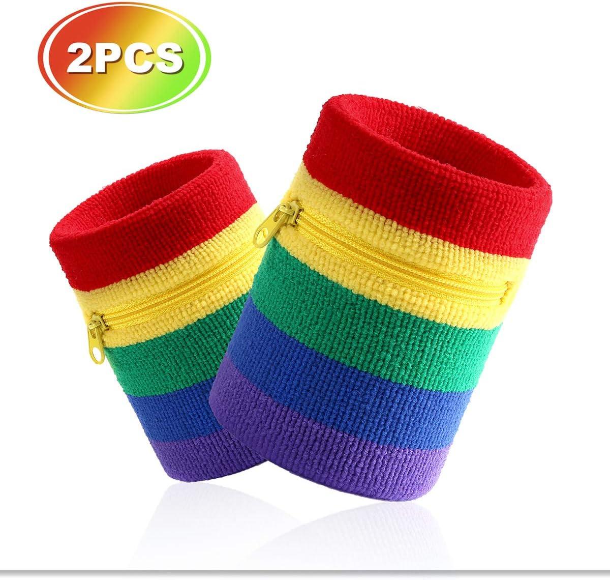 VENI MASEE Sport spessa braccialetto di colore solido con cerniera//portafoglio da polso 2PCS PACK