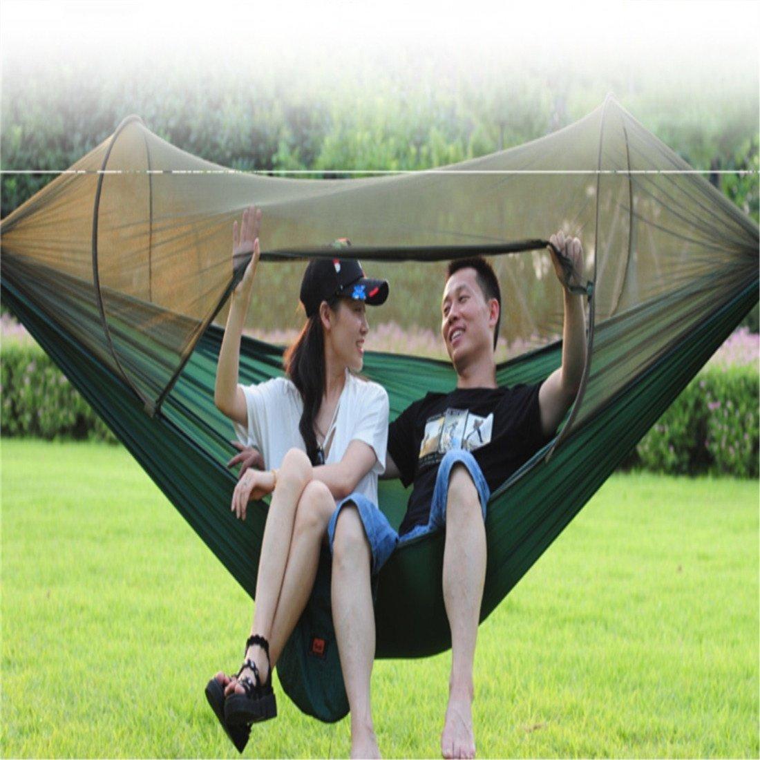 H&Q Automatische moskitonetz hängematte Outdoor Single doppelfallschirm Tuch Ultraleicht moskitonetz hängematte Indoor schaukel hängematte (2,6 * 1,4 mt)