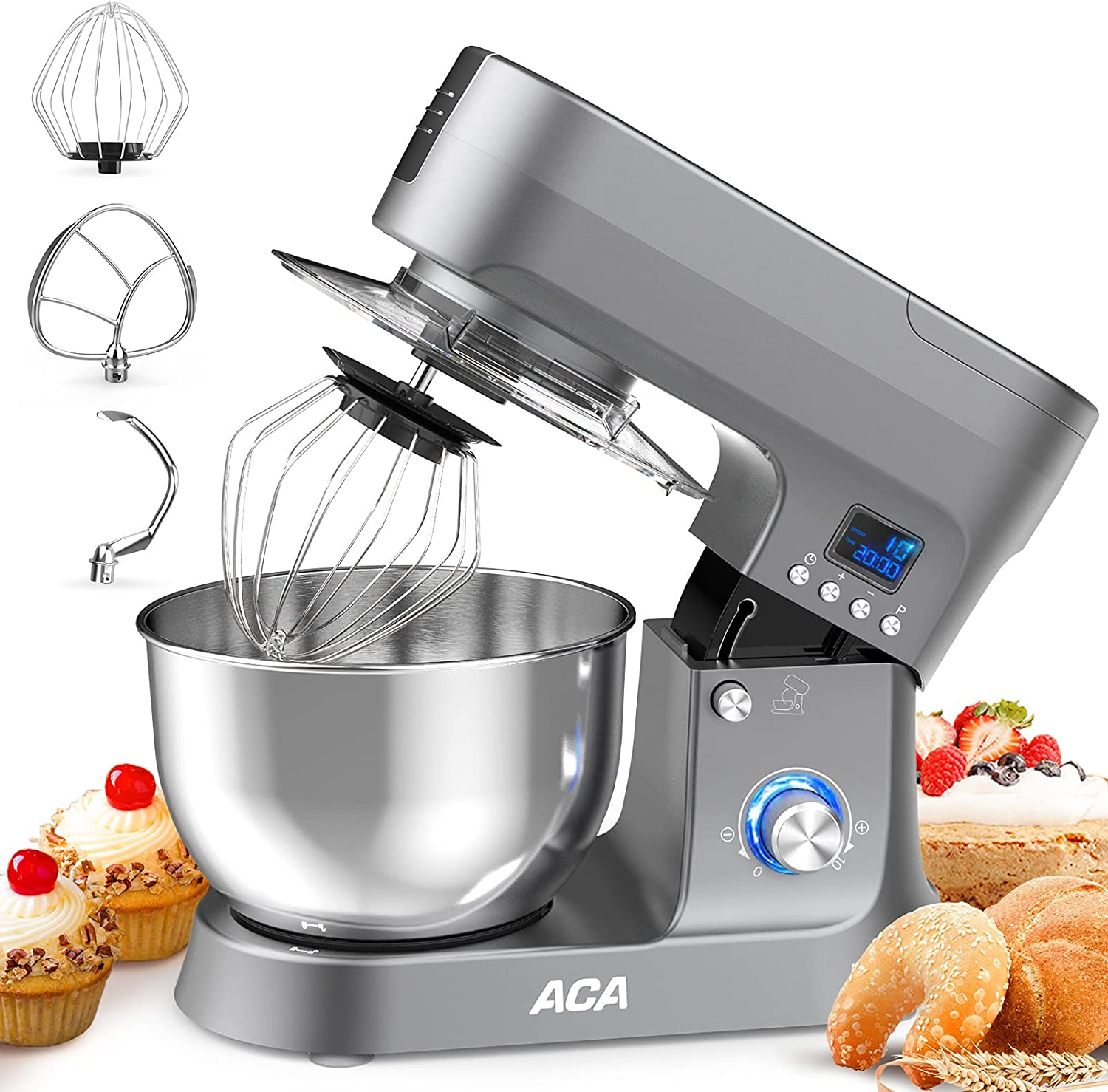 Stand Mixer, ACA 800W 6.5 QT, 20 Min Timing,10 Speed & Pulse Tilt-Head Cake Food Dough Mixer, Electric Kitchen Mixer with Flat Beater, Electric Whisk, Dough Hook 3 Kitchen Mixer Attachments - Grey
