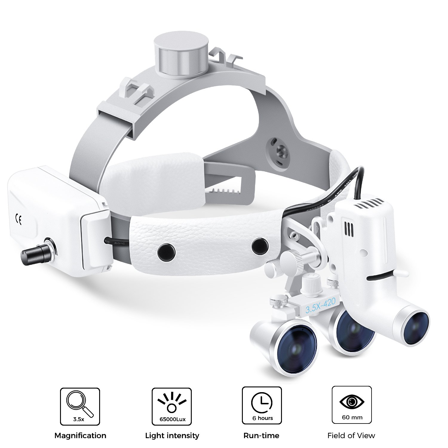 Dental Surgical Binocular Headband Loupes with Headlights, Medical Magnifier with 5W LED Headlamp Lights for Surgery Vascular, Working Distance: R(420 mm), Magnification: 3.5X by VOUO