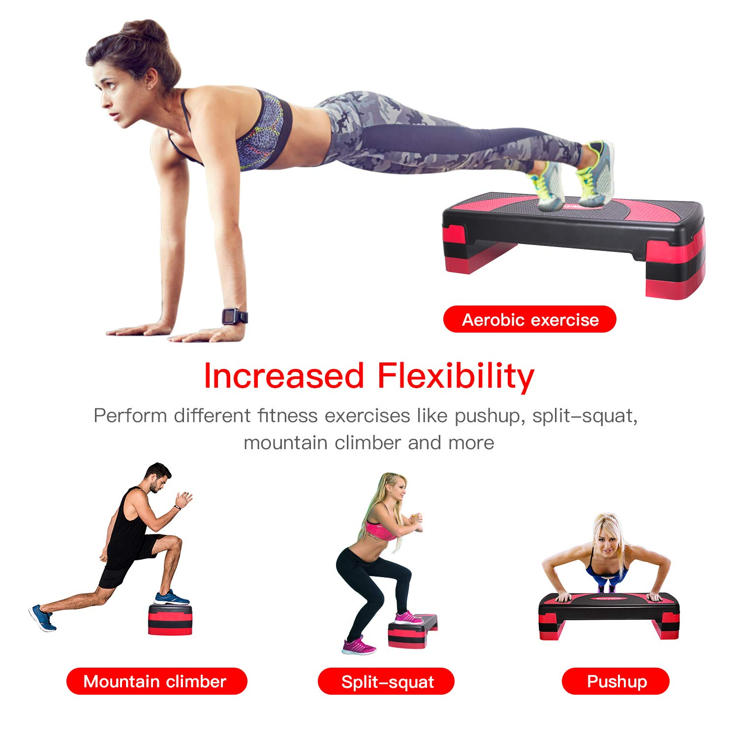 EveryMile Workout Aerobic Stepper, 4'' 6'' 8'' Levels Height-Adjustable Exercise Step Platform, 31Inch Fitness Step for Exercise, Nonslip Stepper Trainer Risers Deck Sports Accessory by EveryMile (Image #7)
