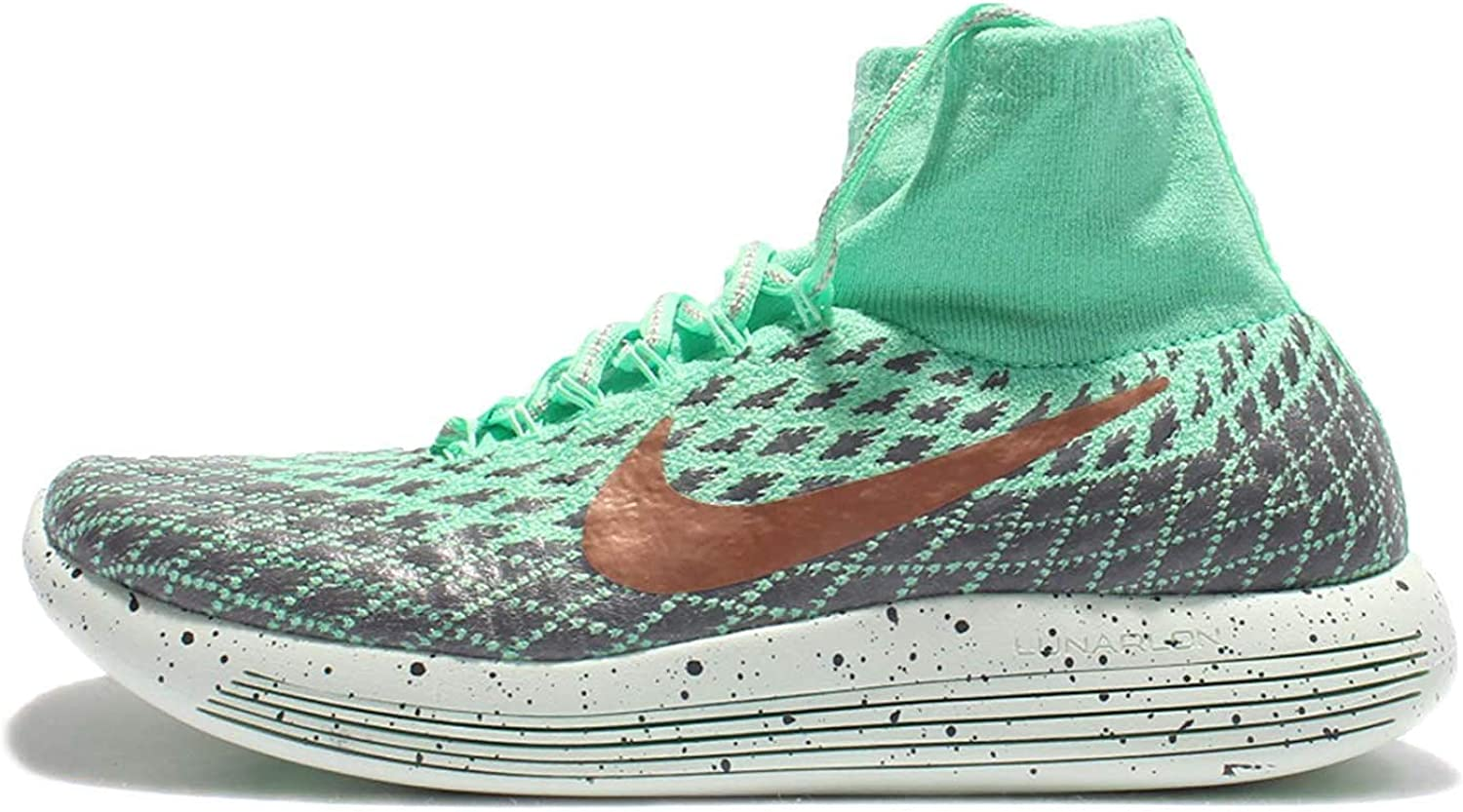 Nike Womens Lunarepic Flyknit Fabric Low Top Pull On Running, Green, Size 9.0