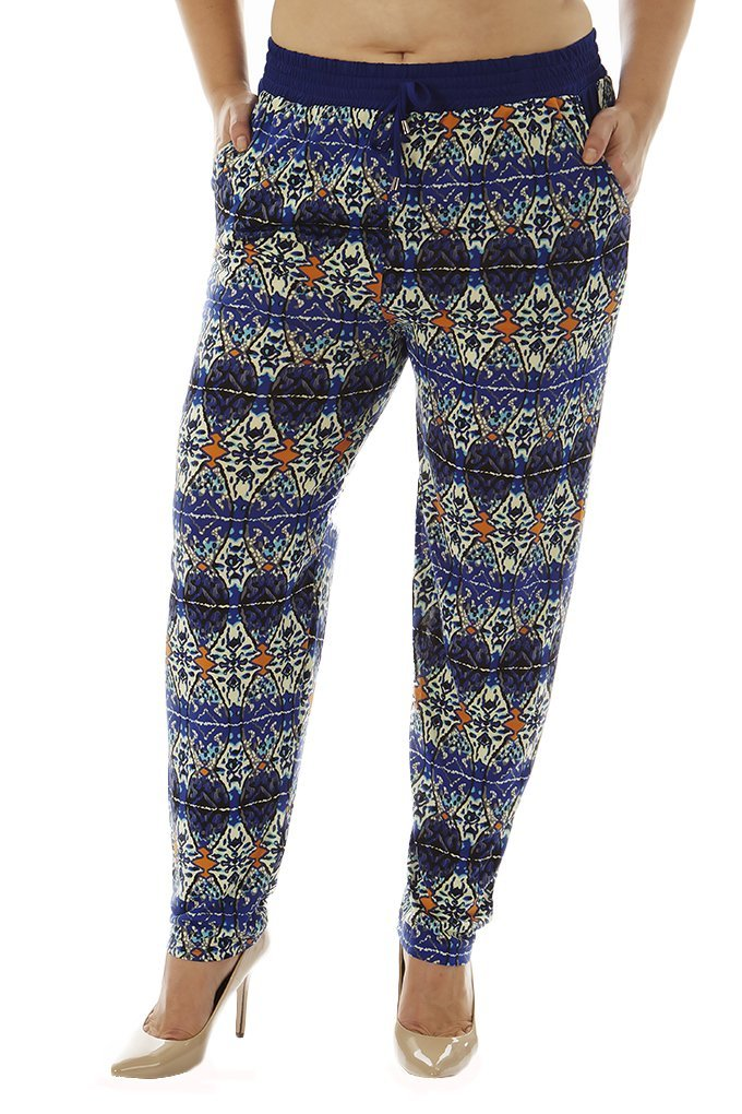 Golden Black Women's Plus Size Printed Knitted Joggers Pants SBPLUS-pp