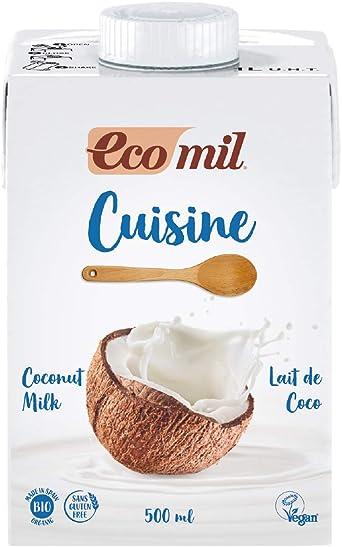 Ecomil Cusine Coco Bio 500 ml. Crema a base de leche de coco bio para cocinar. Sin lactosa, sin gluten, sin azúcares añadidos, sin soja, sin huevo, ...