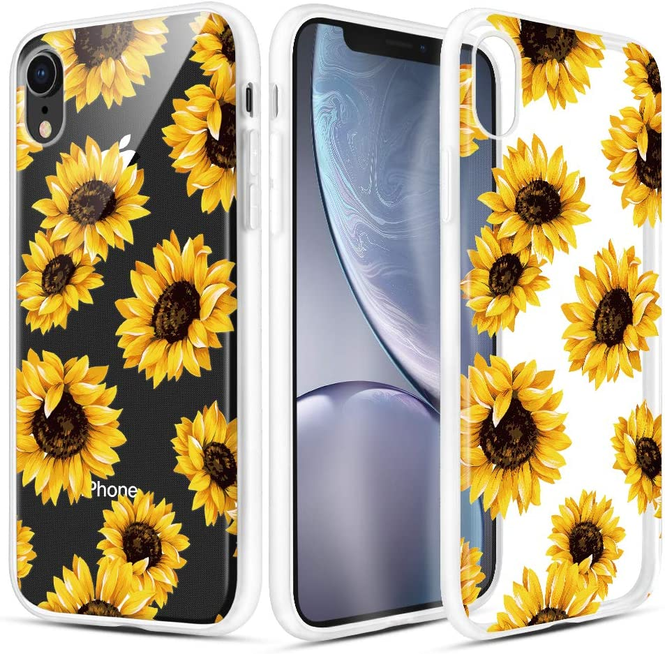 Caka iPhone XR Case, iPhone XR Clear Floral Case Flower Pattern Flower Series Slim Cute Girly Women Anti Scratch Excellent Grip Premium Clarity TPU Crystal Case for iPhone XR 6.1 inch (Sunflower)