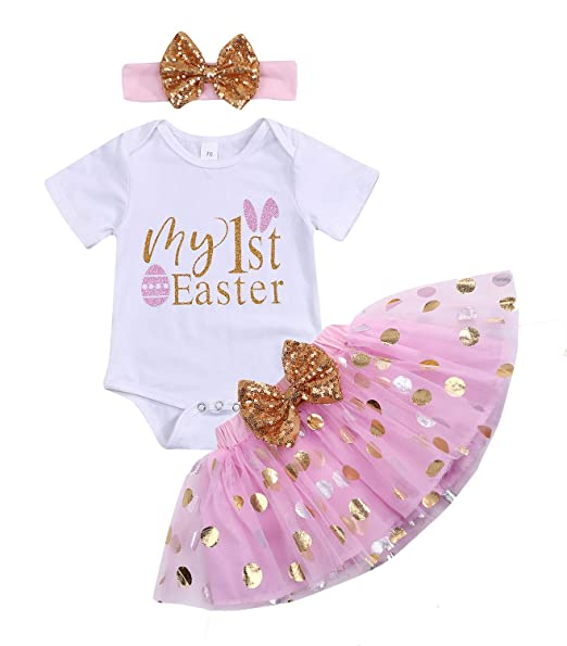 a46dbba658f5e Easter Newborn Infant Baby Girls Dress Outfits Bunny Rabbit Romper+Tutu  Skirt Summer Princess Party Ruffle Dress Clothes