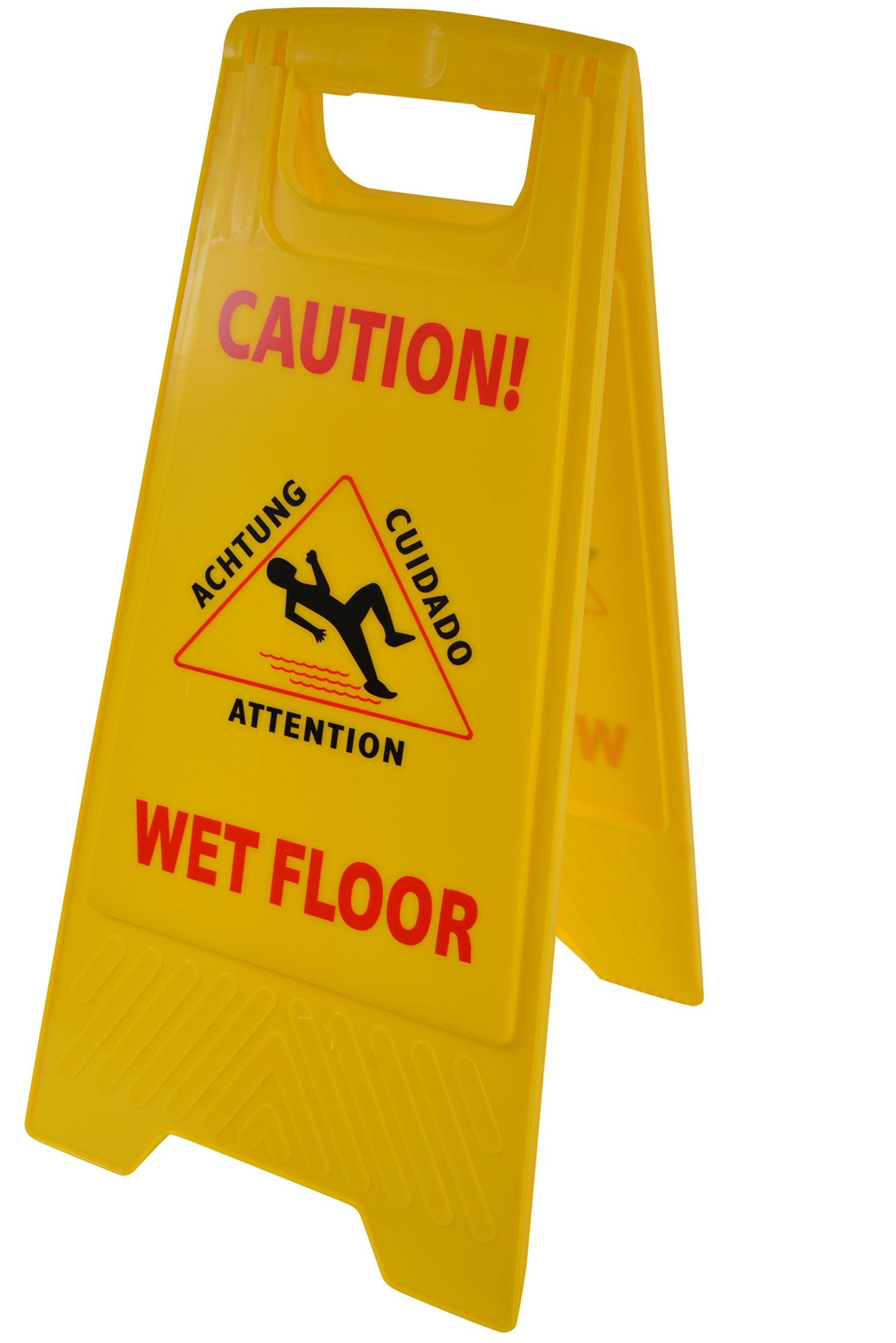 Janico 1070 Wet Floor Caution Sign, Multi-Lingual, 2 Sided, Yellow (Pack of 1)