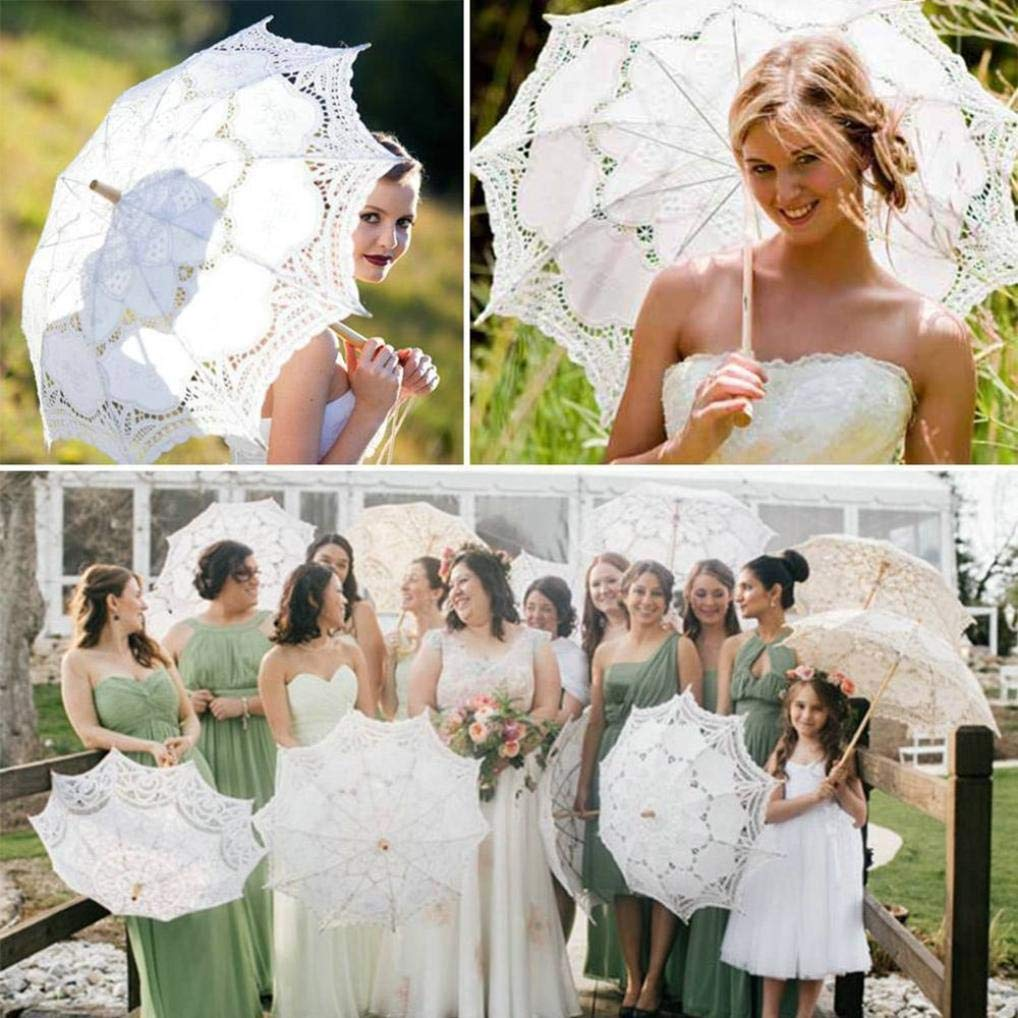 Diadia Lace Embroidered Sun Parasol Umbrella Bridal Wedding Dancing Party Photo Show for Traveling,Shopping,Camping,Dating White
