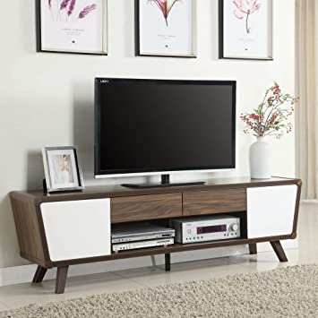Charming Coaster 74u0026quot; TV Stand In Chestnut And Glossy White