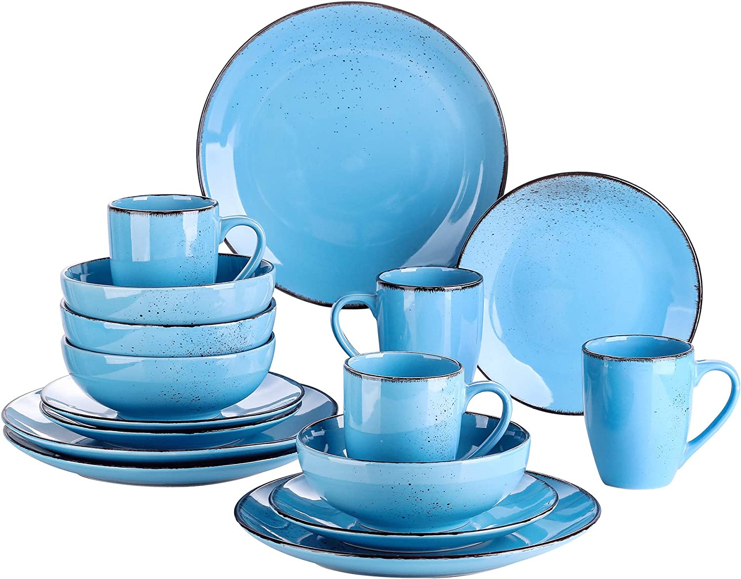 Amazon Com Vancasso Series Navia Ceramic Dinnerware Set 16 Pieces Set Of 4 Stoneware Spray Spot Patterned Service Dish With Dinner Plates Salad Plates Bowls Mugs Aqua Blue Dinnerware Sets