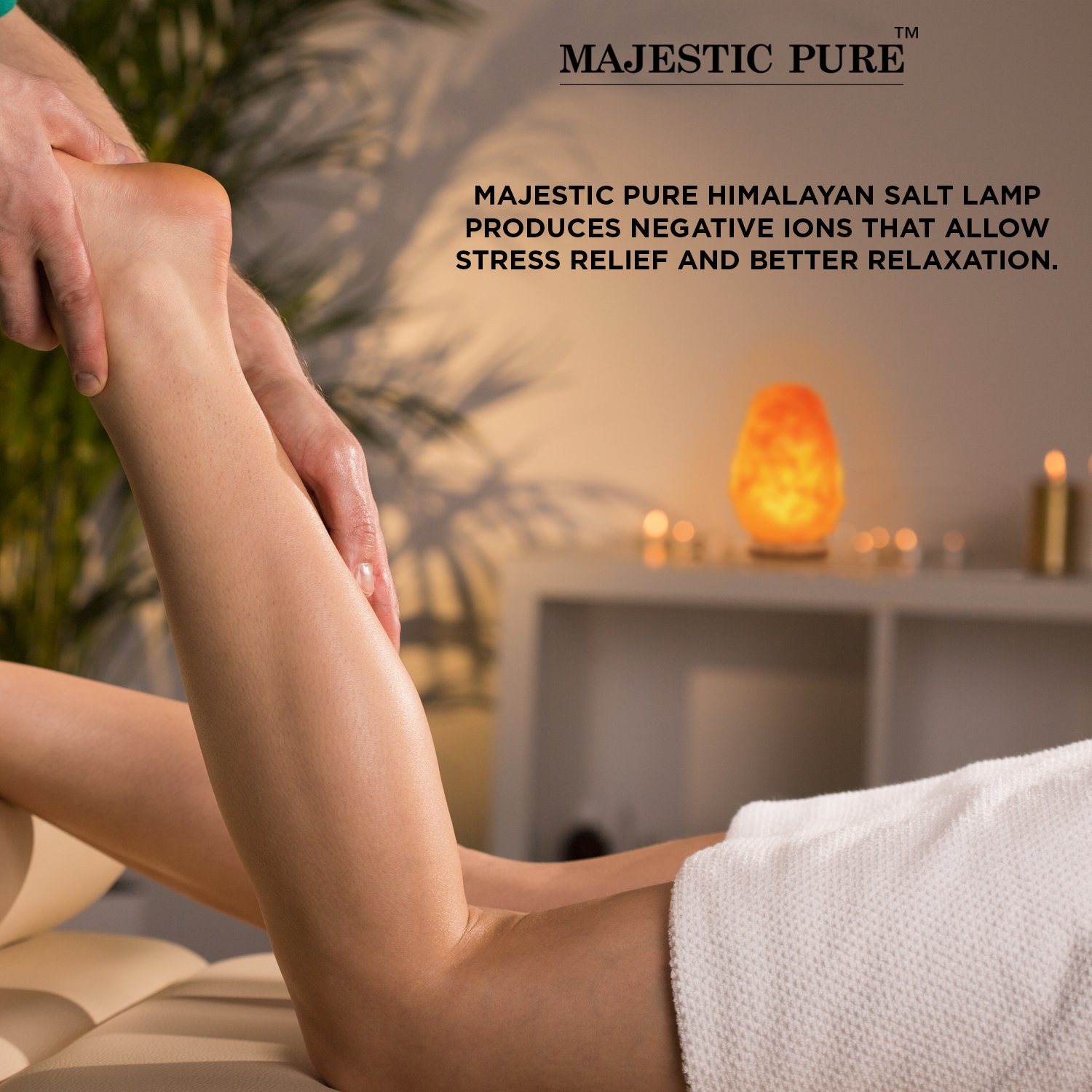 Majestic Pure Himalayan Salt Lamp - Natural Pink Salt Rock Lamp, Hand Carved, Wooden Base, Brightness Dimmer, 3 Bulbs, UL-Listed Cord and Gift Box, 8-11 lbs by Majestic Pure (Image #4)