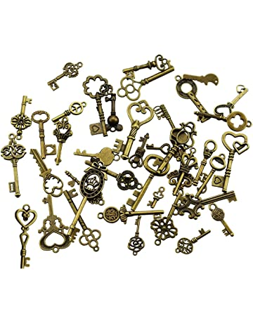 a2e450ab70 40 pezzi bronzo antico vintage scheletro chiavi charms fai da te kit per  accessori fatti a