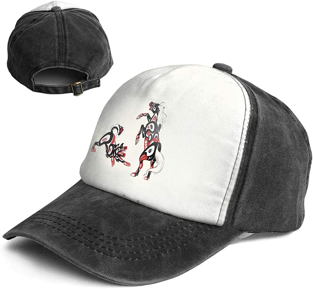 Art of Horse and Dog Trend Printing Cowboy Hat Fashion Baseball Cap for Men and Women Black and White