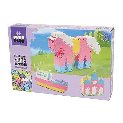 PLUS PLUS - Open Play Set - 480 Piece 3-in-1 - Pastel Color Mix, Construction Building Stem Toy, Interlocking Mini Puzzle Blocks for Kids: Toys & Games